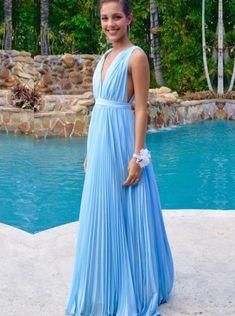 Sexy A-line Floor-length V-neck Blue Chiffon Prom Dress