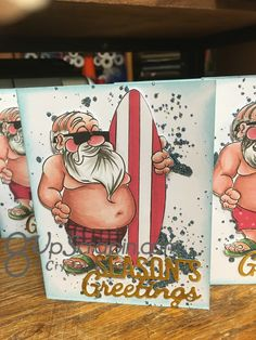 Today I have a fun card I made for my monthly card swap group , I am using a digital stamp from Doctor Digi's house of stamps , he is called Surfin' Santa these… Santa Stamp, Digital Stamps, Cool Cards, Christmas Cards, Invitations, Fun, Handmade, Christmas E Cards, Digi Stamps