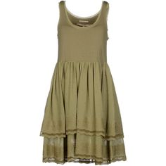 Silvian Heach Short Dress (48 CAD) ❤ liked on Polyvore featuring dresses, military green, sleeveless jersey, sleeveless dress, mini dress, short sleeveless dress and brown sleeveless dress