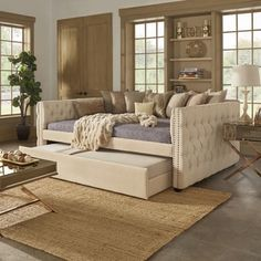 queen size tufted nailhead daybed and trundle by signal hills free shipping today