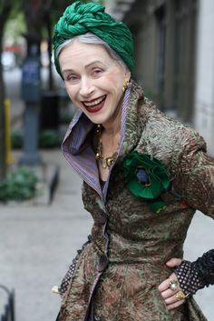 This woman is FANTASTIC! Her style! Her smile! I can only hope I shine like her at her age...