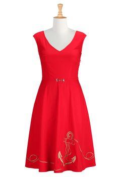 Anchor Embellished Poplin Dresses, Belted Spring Dresses Shop women's designer fashion - A-line dress - Shop for A-line dresses | eShakti.co...