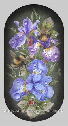 Холуй. Bee Painting, China Painting, Stone Painting, Tole Decorative Paintings, Colored Pencil Artwork, Bee Art, Russian Art, Hand Painted Ceramics, Chalk Art