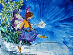 Fairy Art  Magical Teal Purple Butterfly Fairy by CheyAnneSexton