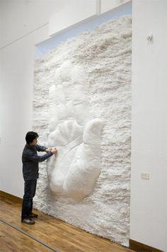 Drinking Straw Sculpture by Korean artist SangSik Hong.