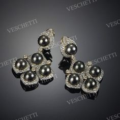 Earrings set with black cultured pearls and brilliant-cut diamonds TAHITI Pearl And Diamond Earrings, Stone Earrings, Pearl Jewelry, Gemstone Jewelry, Lotus Jewelry, Bridal Jewellery Boxes, Bridal Jewelry, Modern Jewelry, Luxury Jewelry