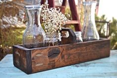 Rustic Wedding Table Centerpiece Wood Box