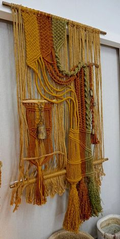 Large 1960s Macrame Fiber Art | From a unique collection of antique and modern tapestries at https://www.1stdibs.com/furniture/wall-decorations/tapestry/