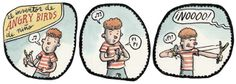 El Inventor de Angry Birds de Niño pinned with Panormus Angry Birds, Tech Humor, Peanuts Comics, Origins, Grande, Funny Stuff, Spanish, Frases, Inventors