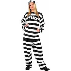 Our Ladies Prisoner outfit is the ideal Convict Costume for ladies. For a fun Couples Costume or Group Costume idea consider any of our Prisoner Costumes for men or women. - Black and white striped co