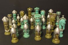 Medieval Chess Pieces Ceramic Turquoise Great Display Steampunk What's Your Style, Chess Pieces, Table Games, Vintage Industrial, Primitive, Medieval, Steampunk, Chess Boards, Shabby