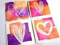 Oil pastels, tissue paper