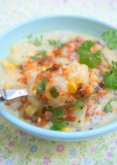 Corn Chowder with Sun-Dried Tomato Pesto Topping