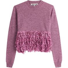 McQ Alexander McQueen Wool Pullover (202365 IQD) ❤ liked on Polyvore featuring tops, sweaters, jumpers, shirts, purple, long-sleeve shirt, purple shirt, wool shirt, cut loose long sleeve shirt and fringe shirts