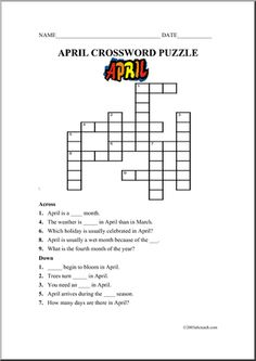 Fun Activities: Crossword Puzzles for Kids, Printable and