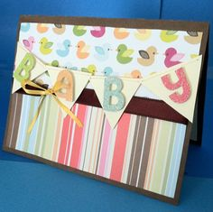 Handmade Neutral Baby Card  Colorful Ducks by MonkeyCookies, $6.99