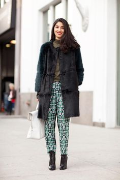 Printed pants and a furry coat...majorly cute!