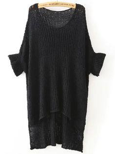 Black Round Neck Split Loose Knit Sweater