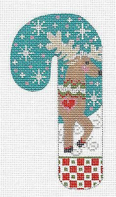 Danji MED. Candy Cane Reindeer with Snowflakes handpainted Needlepoint Canvas
