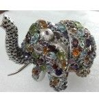 197.00 Grams 925 Sterling Silver Elephant studded with natural semi precious Gemstones