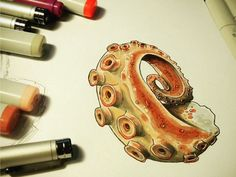 Octopus sketch with Copic markers Copic Marker Art, Copic Art, Copic Sketch, Sketch Markers, Copic Markers, Marker Drawings, Octopus Sketch, Graffiti, Japon Illustration