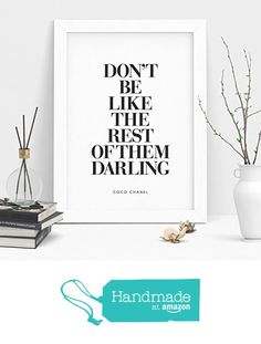 Don't Be Like the Rest of Them Darling Coco Chanel Quote Typography Poster Wall Decor Motivational Print Inspirational Poster Home Decor from The Motivated Type