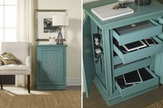 TOP PICK by Lisa Kahn www.kahndesigngroup.com Hooker Furniture | E-Charge Center.  Offered in four styles, the E-charge Center is truly a problem-solving piece for the typical household with multiple portable electronic devices like tablets, phones, lap tops and IPODS that must be stored and charged. The pieces have touch latch doors on either side for easy access and 4 to 6 outlets to charge 4 to 6 units at one time.  #HPmkt IHFC C1058