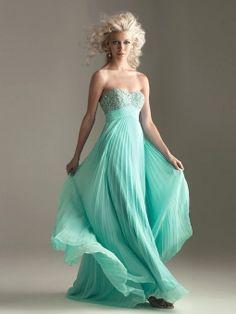 Empire Sweetheart Emerald Ruffles Chiffon Floor-length Prom Dress