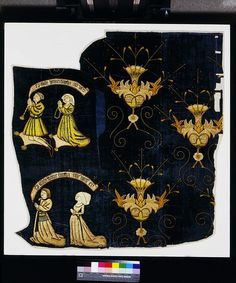 1470-500, Panel, Silk velvet, with linen applied and embroidered in silver-gilt and silk threads