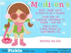Winter Pool Party Invitation - Girl Swim Party Invitation - Kids ...
