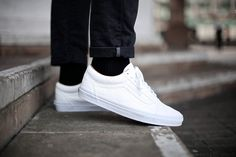 """Vans Old Skool """"Premium Leather"""" Pack (Spring 2015) - Tags: casual, low-top sneakers, on feet, all white leather, white sole, black socks, black denim, cuffed jeans, outside, concrete"""