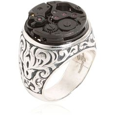 CANTINI MC FIRENZE Engraved Sterling Silver Steampunk Ring ($304) ❤ liked on Polyvore featuring mens and men's jewelry