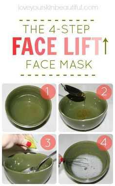 Tighten up your skin with my favorite DIY, homemade, 4-step face mask! The Instant Face Lift Soufflé: 1 egg white (tightens, lifts, and firms) 1 lemon or lime wedge, squeezed (brightens, balances) 1 spoonful of honey (moisturizes, hydrates):