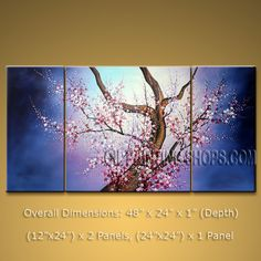 Beautiful Contemporary Wall Art Floral Cherry Blossom Oil On Canvas. In Stock $135 from OilPaintingShops.com @Bo Yi Gallery/ ops2a95