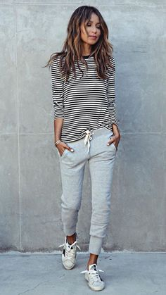 new arrival new authentic special sales Comfy casual stripe shirt grey sweatpants sneaks | Fall ...