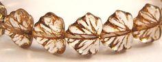 Czech Glass 10x13mm Maple Leaf Beads  20 Count by beadbarnsupplies