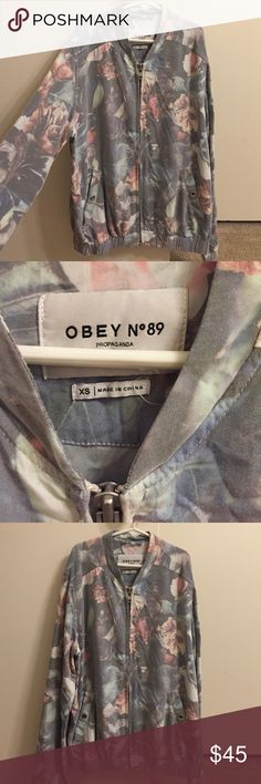 Obey maven floral jacket This jacket is a bomber style and very lightweight! Perfect for the spring or fall months. This jacket has been worn one time and is in excellent condition. Obey Jackets & Coats