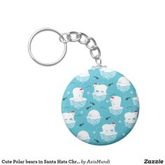 Cute Polar bears in Santa Hats Christmas Pattern Keychain Cute Polar Bear, Polar Bears, Santa Hat, Party Hats, Create Your Own, Unique Gifts, Cool Designs, Cool Stuff, Keychains