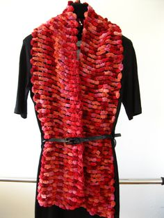 A personal favorite from my Etsy shop https://www.etsy.com/ca/listing/473383147/hand-knit-shawl-scarf-pink-red-bubble