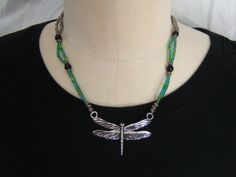 Dragon fly necklace with green blue and by NewClassicBohemian, $25.00