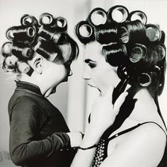 Mother, Child and curlers.
