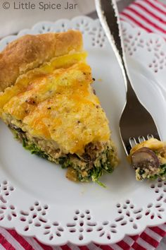 CHEESY SPINACH MUSHROOM QUICHE- Technically, Mom made this one- not me- but it was so very yummy.