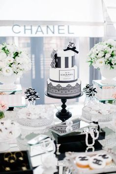 Cake from a Chanel Inspired Birthday Party via Kara's Party Ideas | KarasPartyIdeas.com (6)