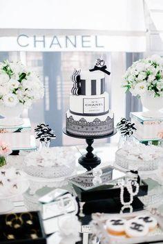 Cake from a Chanel Inspired Birthday Party via Kara's Party Ideas | KarasPartyIdeas.com (6)