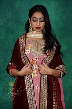 Indian Clothes, Indian Outfits, Velvet Shawl, Lilac Grey, Organza Saree, Picture Credit, Shawls, Hand Embroidery, Festive