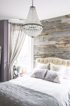Bought 2 chandeliers for the dining room Gorgeous Wicker Park Master with Pottery Barn Chandelier and Reclaimed Weathered Wood Stikwood wall and Farrow and Ball Brassica walls Photo by Jessica Giesey Master Bedroom Chandelier, Dream Master Bedroom, Romantic Master Bedroom, Accent Wall Bedroom, Farmhouse Master Bedroom, Stylish Bedroom, Master Bedroom Design, Home Bedroom, Bedroom Decor