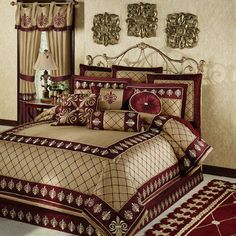 1000 images about bed sets on pinterest comforter sets for Burgundy and gold bedroom designs