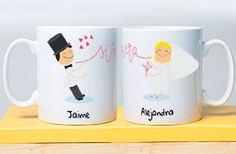 Tazas romátncias personalizadas para novios. Es la taza perfecta para recordar su boda Personaliza con vuestros nombres y la fecha de la boda ¡Vivan los novios!!