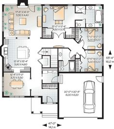 First Floor Plan of Bungalow   House Plan 65432