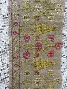 19th C Antique Ottoman-Turkish Silk On Linen Hand Embroidered Shawl Yaglik Trim